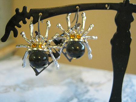 Autumn Spider Earrings