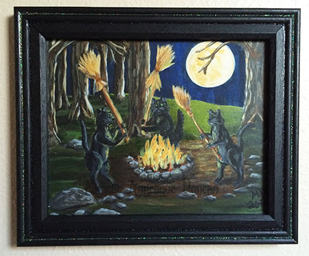 Black Cats At Night Original Painting