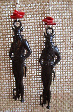 Black Devil In Coral Flames Earrings