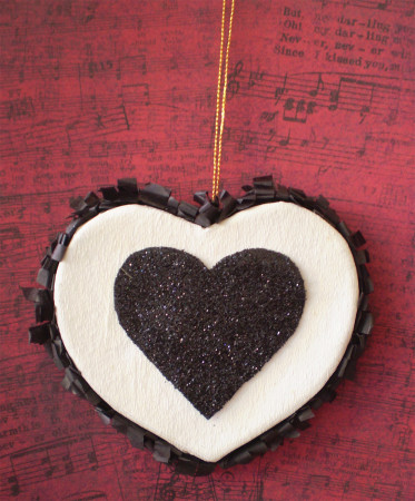 Black and White Heart Ornament