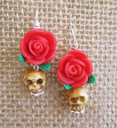 Day of the Dead Rose And Skull Earrings