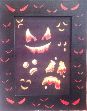 Halloween Faces Print with Hand Painted Cardboard Mat