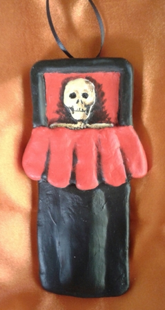 Open Coffin.  A Halloween/Christmas Ornament.