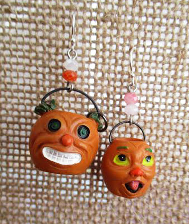 Orange Monster Bucket Earrings