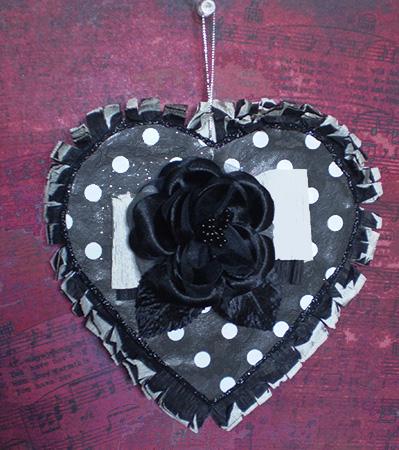 Polka Dot Black & White Heart