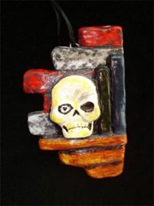 Skull and Bookshelf Ornament