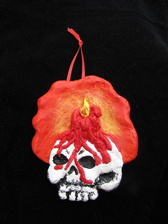 Skull and Candle.  A Halloween/Christmas Ornament.