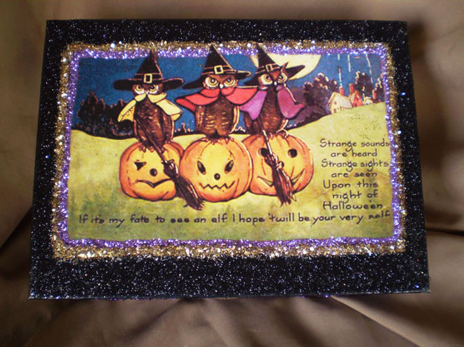 Three Halloween Owls Box