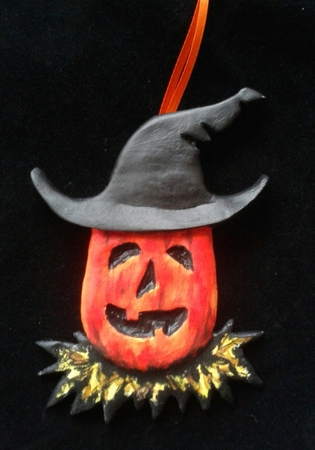Pumpkin Witch.  A Halloween/Christmas Ornament.