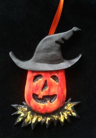 Pumpkin Witch.  A Halloween/Christmas Ornament.