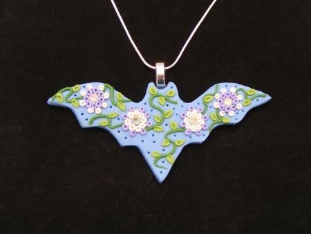 Fancy Bat Pendant in Blue