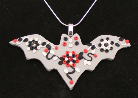 Fancy Bat Pendant in Grey