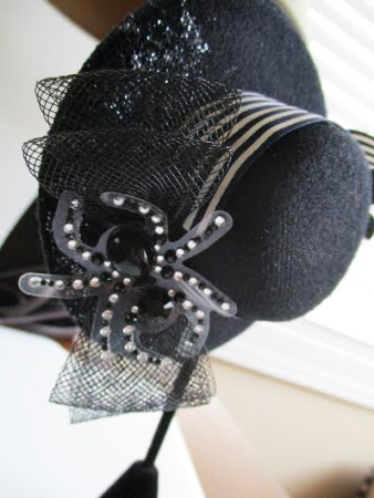 Rhinestone Spider And Sequin Flower Gothic Black Fascinator Hat