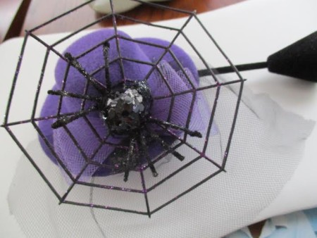 Spider in Web Purple Fascinator Hat