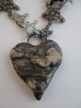 Storm Cloud Ceramic Heart And Moon October Necklace